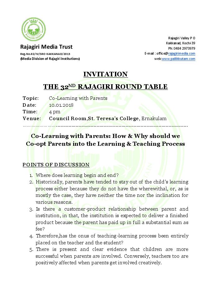 Rajagiri Round Table 3 - St Teresa's College (Autonomous)