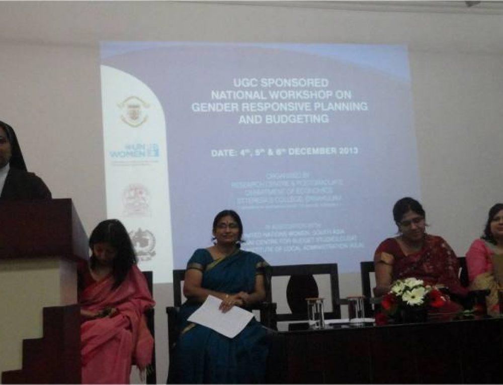 """UGC SPONSORED NATIONAL WORKSHOP ON""""GENDER RESPONSIVE PLANNING AND BUDGETING """""""