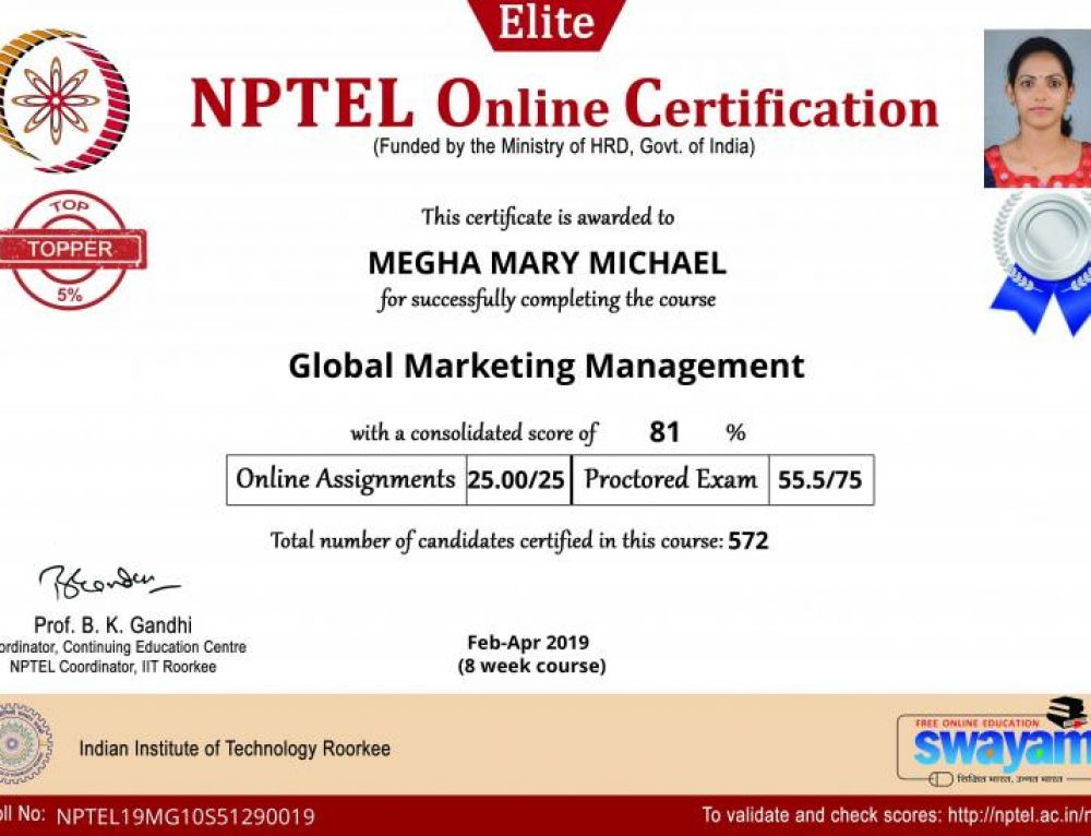 Congrats to Mrs Megha Mary Michael for scoring top 5% in NPTEL