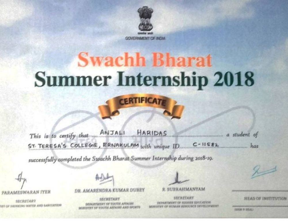 SWACHH BHARAT -SUMMER INTERNSHIP-ECONOMICS