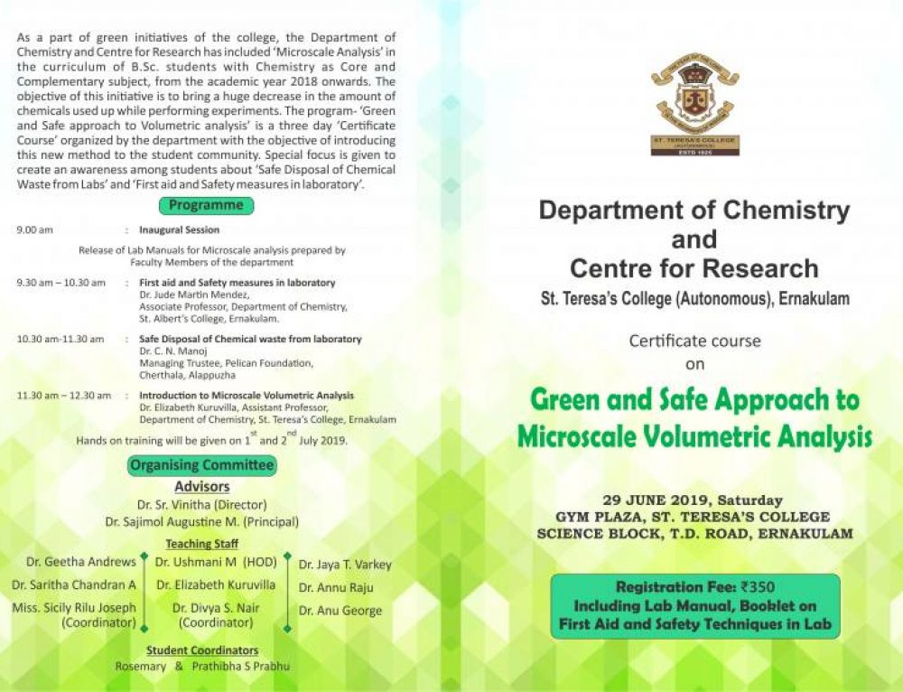 Certificate Course on Green and Safe Approach to Microscale Volumetric Analysis