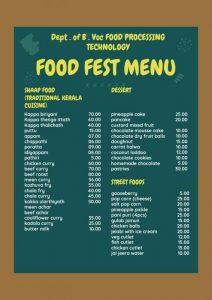 FOOD FEST MENU