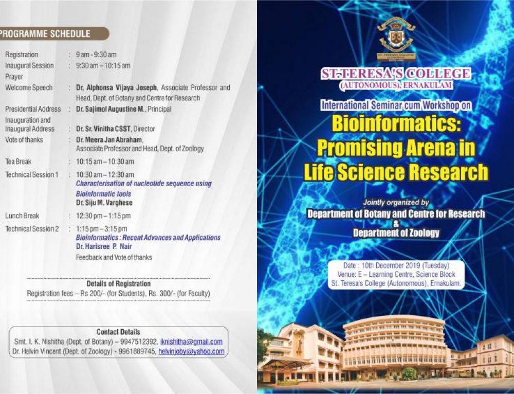 International seminar cum workshop titled 'BIOINFORMATICS: PROMISING ARENA IN LIFE SCIENCE RESEARCH'