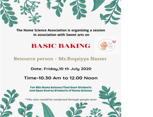 Home Association Activity – Basic Baking on 10th July 2020