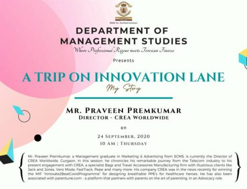 A trip on innovation lane My Story by Mr. Praveen Premkumar