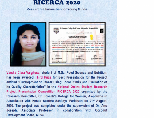 Varsha of M. Sc Food and Nutrition secured III prize in Research presentation