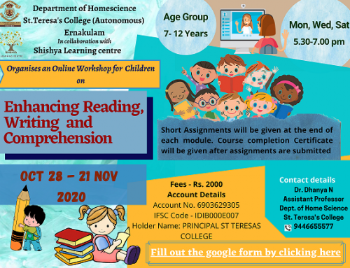 """Department of Home Science organises a workshop on """"Enhancing Reading, Writing and Comprehension for Children"""""""