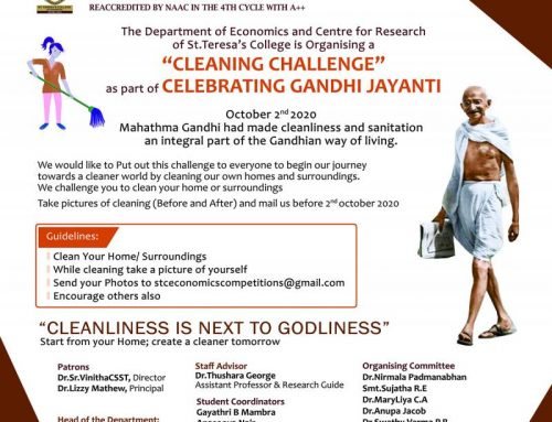"""Cleaning Challenge""  as part of celebrating Gandhi Jayanti by Dept.of Economics  October 2nd 2020"