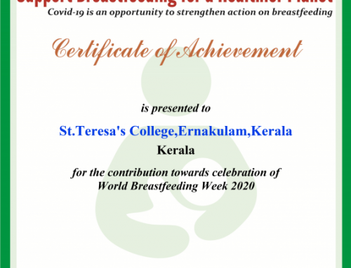 Recognition from Breastfeeding Promotion Network of India(BPNI) for Breastfeeding Promotion activities like You tube video and Online Quiz organised by M.Sc Food Science and Nutrition ,Department of Home Science.