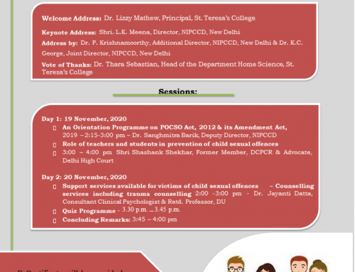 An Orientation Programme on POCSO Act & its Amendment Act, 19 – 20 November 2020