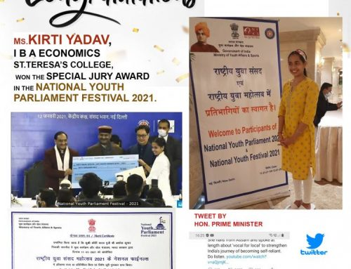 Congratulations Kirti Yadav,  I B A Economics,St.Teresa's College  who won the Special Jury award in the national youth Parliament festival   2021.