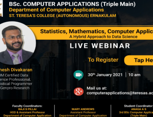 BSc. Computer Applications(Triple Main) conducted webinar on Statistics, Mathematics and Computer Applications , an hybrid approach to data science