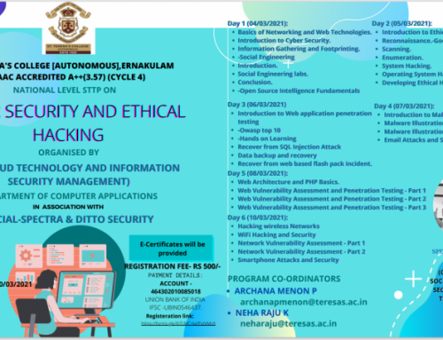 "National Level Online STTP on ""Cyber Security & Ethical Hacking"" by BCA(CT & ISM)"