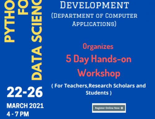 Python for Data Science – 5 Day Online Hands-on-Workshop organized by B.Voc Software Development