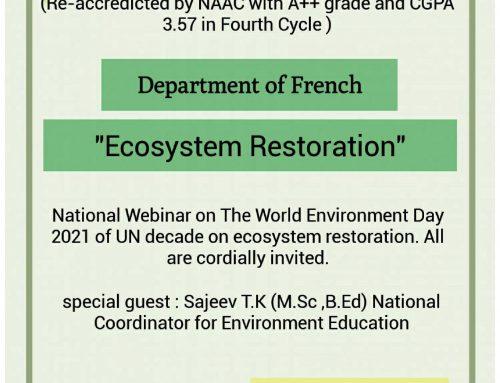 The Department of French national Webinar on 'Ecosysytem Restoration',