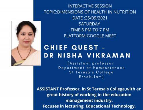 """Dr. Nisha Vikraman delivered a talk on """"Lets Talk Healthy"""""""