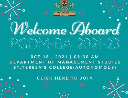 Welcome Aboard PGDM-BA 2021-23